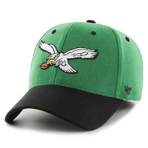 Embroidered on the front of the Philadelphia Eagles retro stretch fit 47 brand cap is the retro Eagles logo embroidered in white, black, yellow, and brown