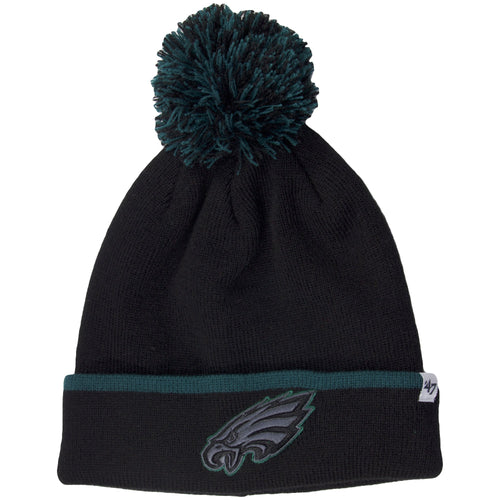 This Eagles Beanie hat has a black and green pom on top. The current Eagles logo is on the front of the cuffs. Cuffs upper edge is green.