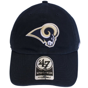 The front is a LA Rams logo heavily embroidered on a black unstructured dad hat.