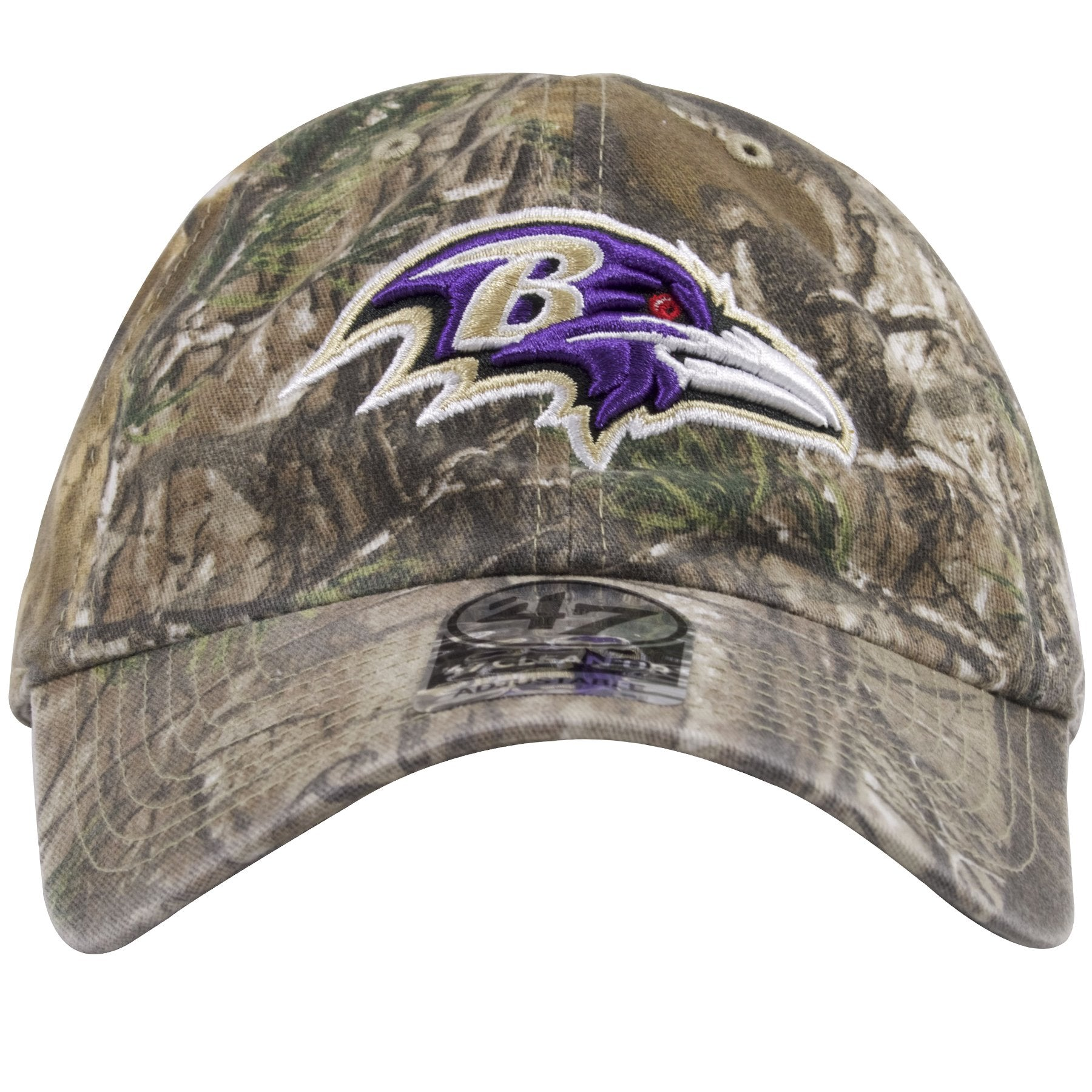 e4f25677 The front of this Realtree Baltimore Ravens Camo Hat shows the Ravens logo  fulling embroidered on