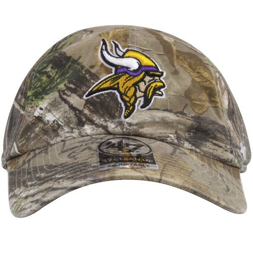 The front of this Minnesota Vikings Realtree Camo Dad Hat shows the Vikings logo heavily embroidered in yellow, purple, and white.