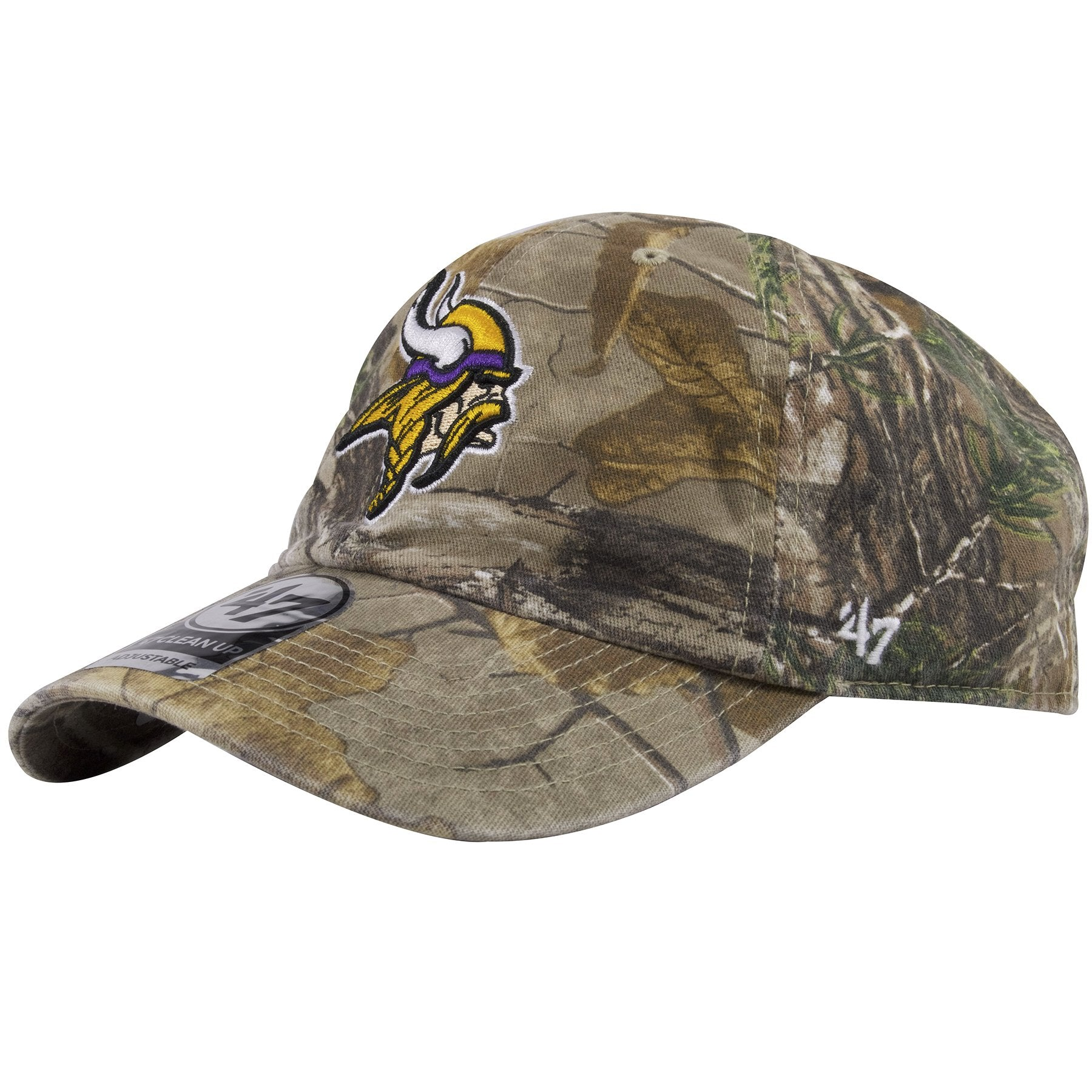 548c30ccb ... This 47 Brand Minnesota Vikings Clean Up hat shows the 47 Brand logo  embroidered in white ...