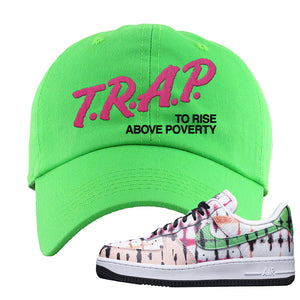Air Force 1 Low Multi-Colored Tie-Dye Dad Hat | Neon Green, Trap To Rise Above Poverty