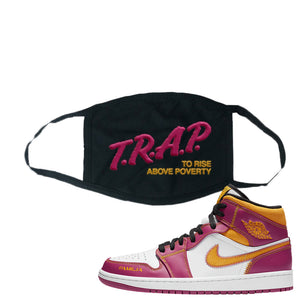 Air Jordan 1 Mid Familia Face Mask | Trap To Rise Above Poverty, Black