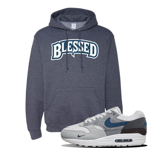 Air Max 1 'London City Pack' Sneaker Vintage Heather Navy Pullover Hoodie | Hoodie to match Nike Air Max 1 'London City Pack' Shoes | Blessed Arch