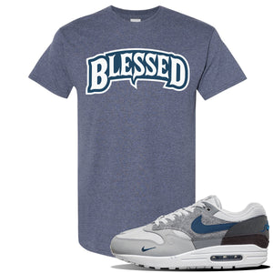 Air Max 1 London City Pack T Shirt | Heather Navy, Blessed Arch