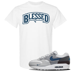 Air Max 1 'London City Pack' Sneaker Heather Navy T Shirt | Tees to match Nike Air Max 1 'London City Pack' Shoes | Blessed Arch