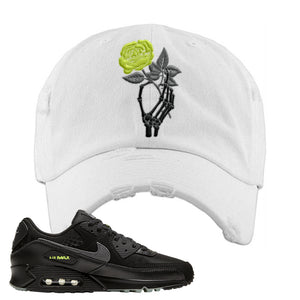 Air Max 90 Halloween Distressed Dad Hat | Skeleton Hand Rose, White
