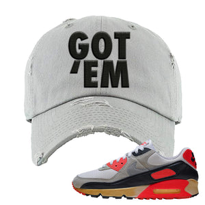 Air Max 90 Infrared Distressed Dad Hat | Got Em, Light Gray