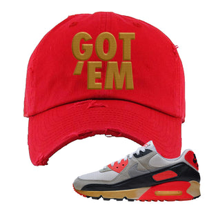 Air Max 90 Infrared Distressed Dad Hat | Got Em, Red