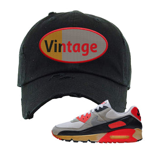 Air Max 90 Infrared Distressed Dad Hat | Vintage Oval, Black