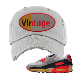 Air Max 90 Infrared Distressed Dad Hat | Vintage Oval, Light Gray