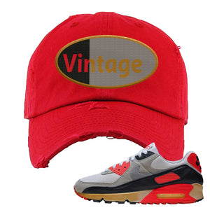 Air Max 90 Infrared Distressed Dad Hat | Vintage Oval, Red