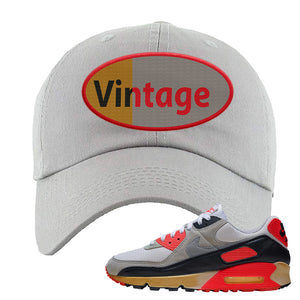 Air Max 90 Infrared Dad Hat | Vintage Oval, Light Gray