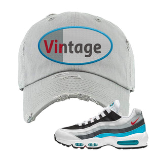 Air Max 95 Red Carpet Distressed Dad Hat | Vintage Oval, Light Gray