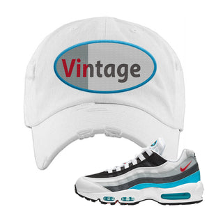 Air Max 95 Red Carpet Distressed Dad Hat | Vintage Oval, White