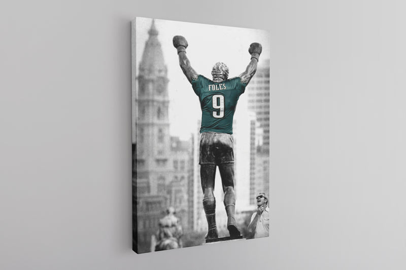 Rocky Foles Canvas | Rocky Statue Nick Foles Wall Canvas the rocky statue has a foles jersey on