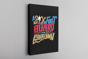 Six Foot Guard From Georgetown Canvas | Allen Iverson Black Wall Canvas the front of this canvas has the six foot guard design