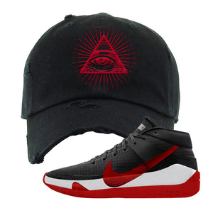 KD 13 Bred Distressed Dad Hat | All Seeing Eye, Black