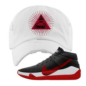 KD 13 Bred Distressed Dad Hat | All Seeing Eye, White