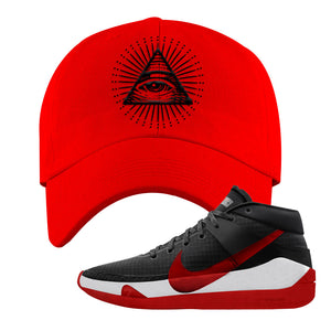 KD 13 Bred Dad Hat | All Seeing Eye, Red
