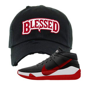 KD 13 Bred Distressed Dad Hat | Blessed Arch, Black