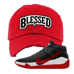 KD 13 Bred Distressed Dad Hat | Blessed Arch, Red
