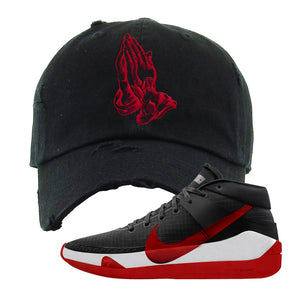 KD 13 Bred Distressed Dad Hat | Praying Hands, Black