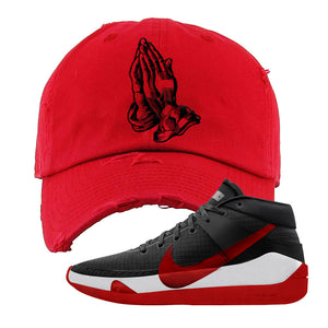 KD 13 Bred Distressed Dad Hat | Praying Hands, Red