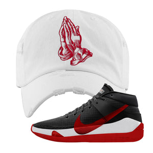 KD 13 Bred Distressed Dad Hat | Praying Hands, White