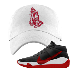 KD 13 Bred Dad Hat | Praying Hands, White