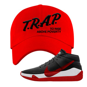 KD 13 Bred Dad Hat | Trap To Rise Above Poverty, Red