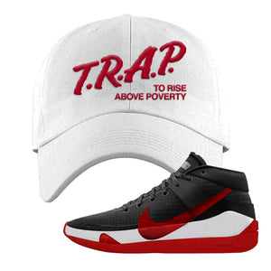 KD 13 Bred Dad Hat | Trap To Rise Above Poverty, White