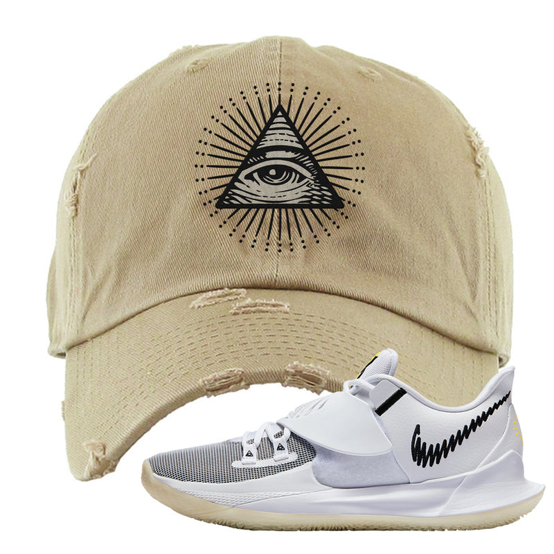 Kyrie Low 3 Distressed Dad Hat | Khaki, All Seeing Eye
