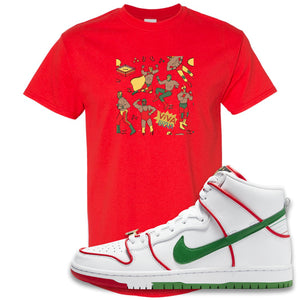 Paul Rodriguez's Nike SB Dunk High Sneaker Red T Shirt | Tees to match Paul Rodriguez's Nike SB Dunk High Shoes | Luchadors