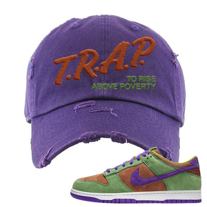 SB Dunk Low Veneer Distressed Dad Hat | Trap To Rise Above Poverty, Purple