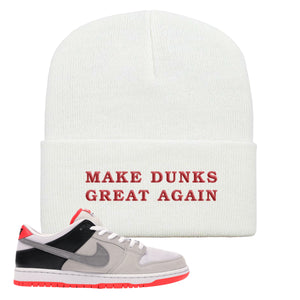 Nike SB Dunk Low Infrared Orange Label Make Dunks Great Again White Beanie To Match Sneakers