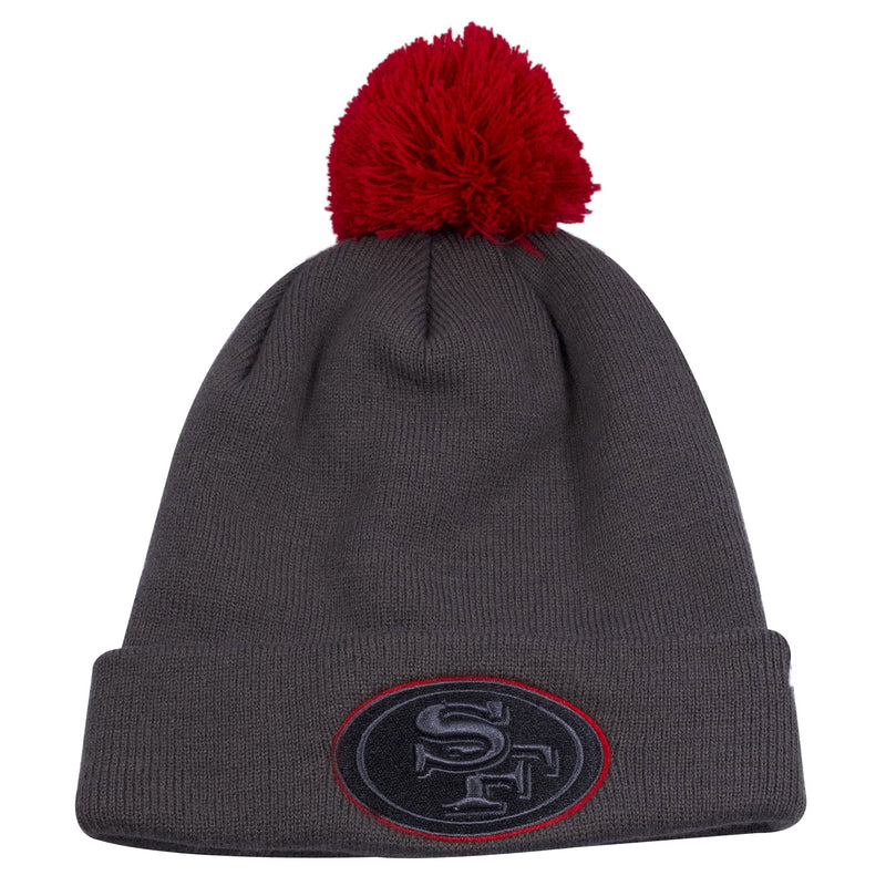 Gray knit beanie with red pom with the San Francisco 49ers logo embroidered on the cuffed of this San Fran 49ers beanie