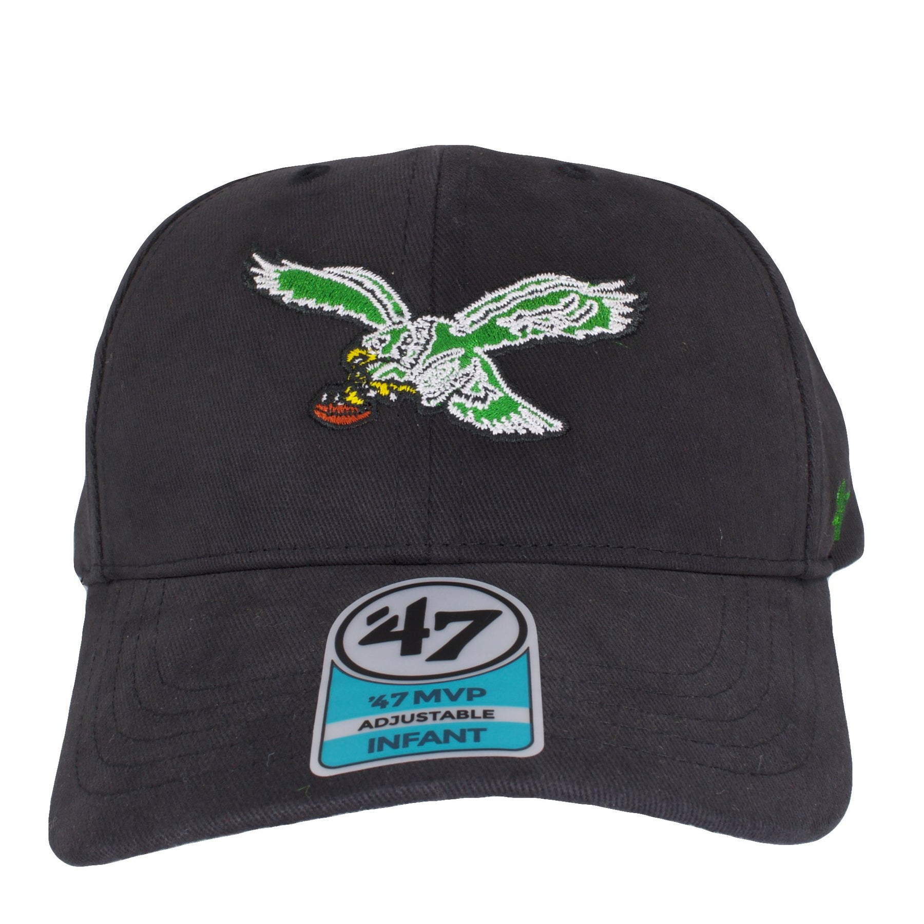 c5f8fedc6ca on the front of the infant philadelphia eagles throwback dad hat is the  retro kelly green