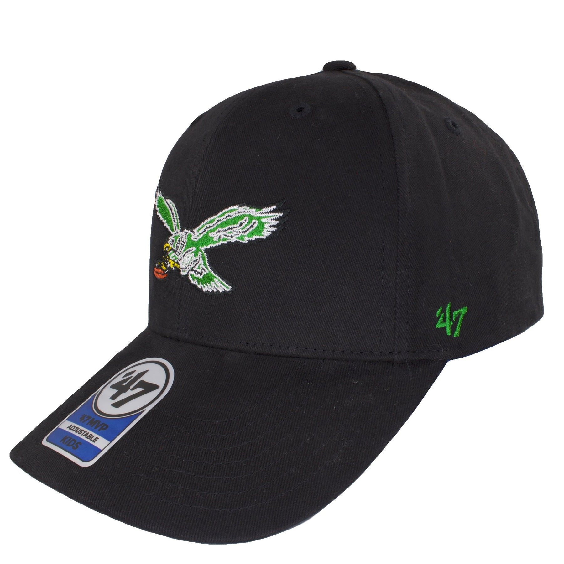 5f33c44cf4b ... black adjustable  on the front of the kids sized philadelphia eagles  throwback logo dad hat is the retro  on the left side of the philadelphia  eagles ...