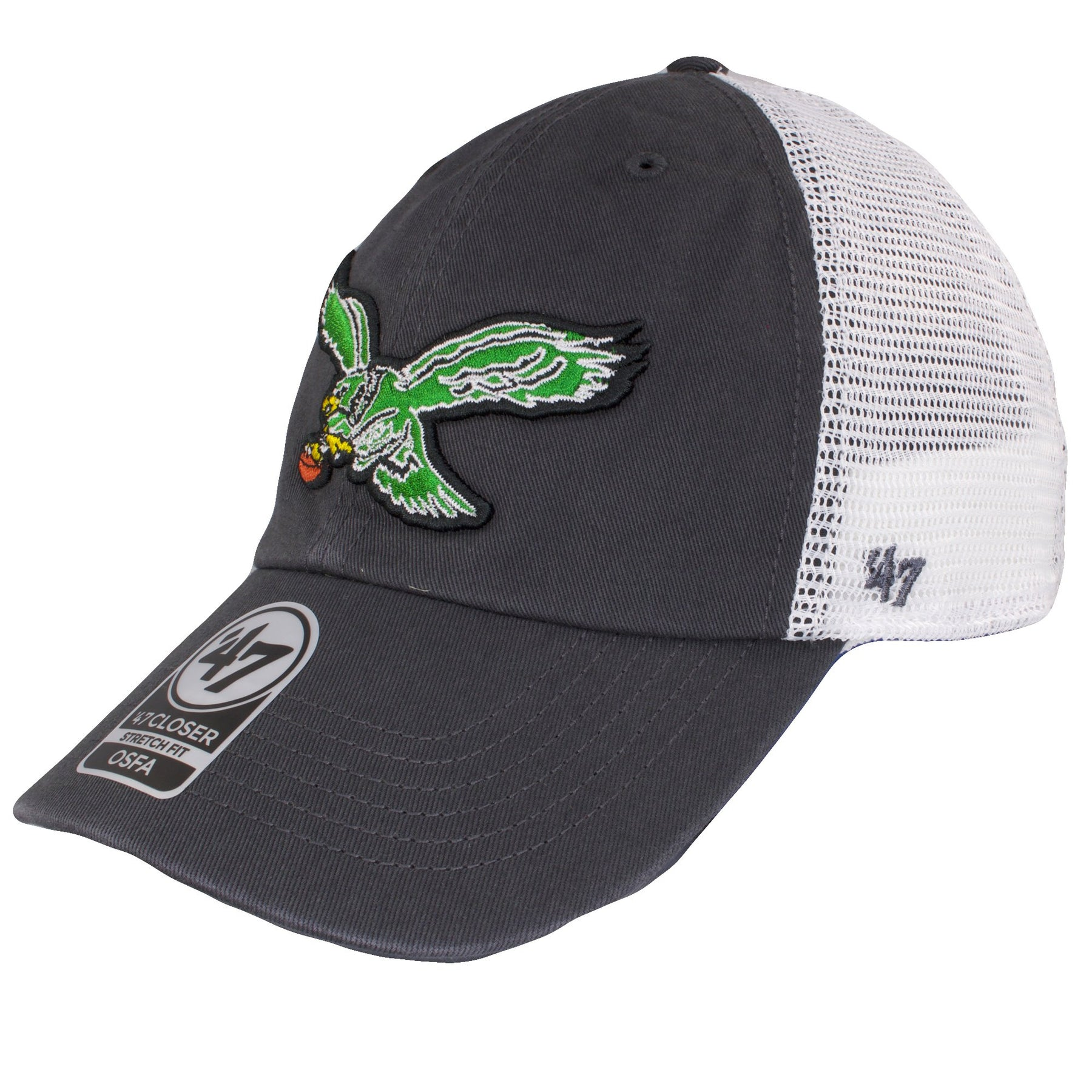 ab151ab3541ea ... on the left side of the throwback kelly green philadelphia eagles mesh stretch  fit cap is ...