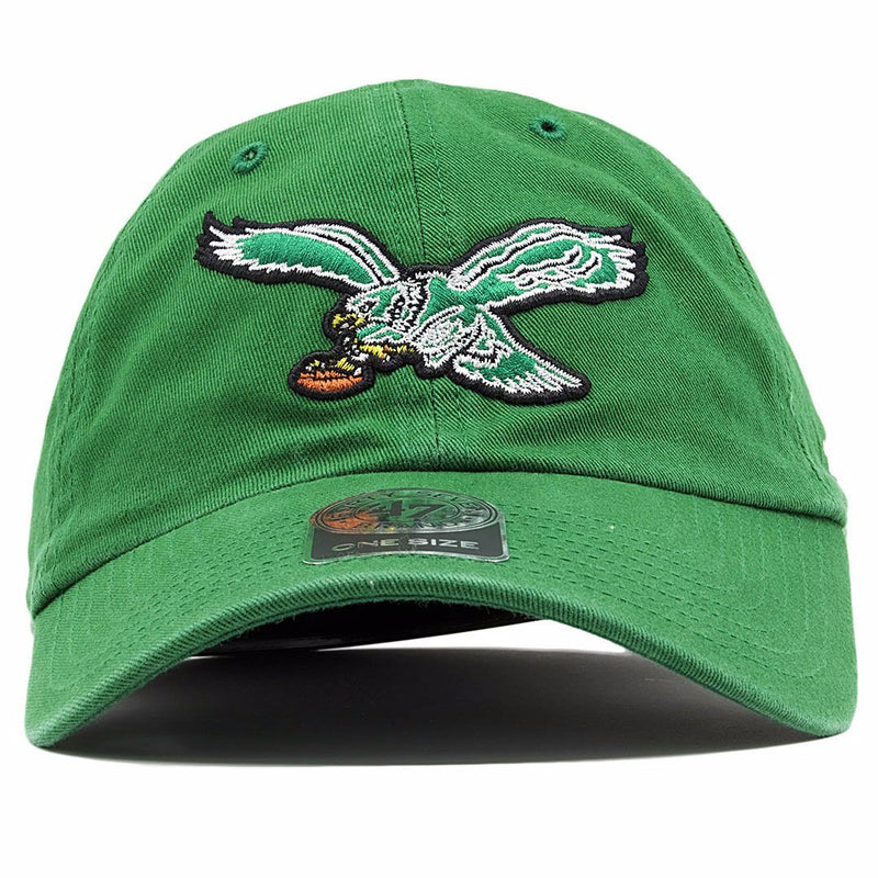 front of Throwback Eagles kelly Green dad hat | Philadelphia Eagles Vintage kelly green dad hat
