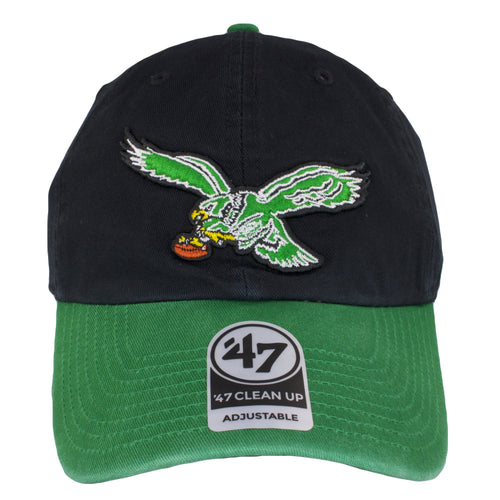 on the front of the Philadelphia Eagles throwback black on kelly green dad hat is the kelly green vintage eagles logo embroidered