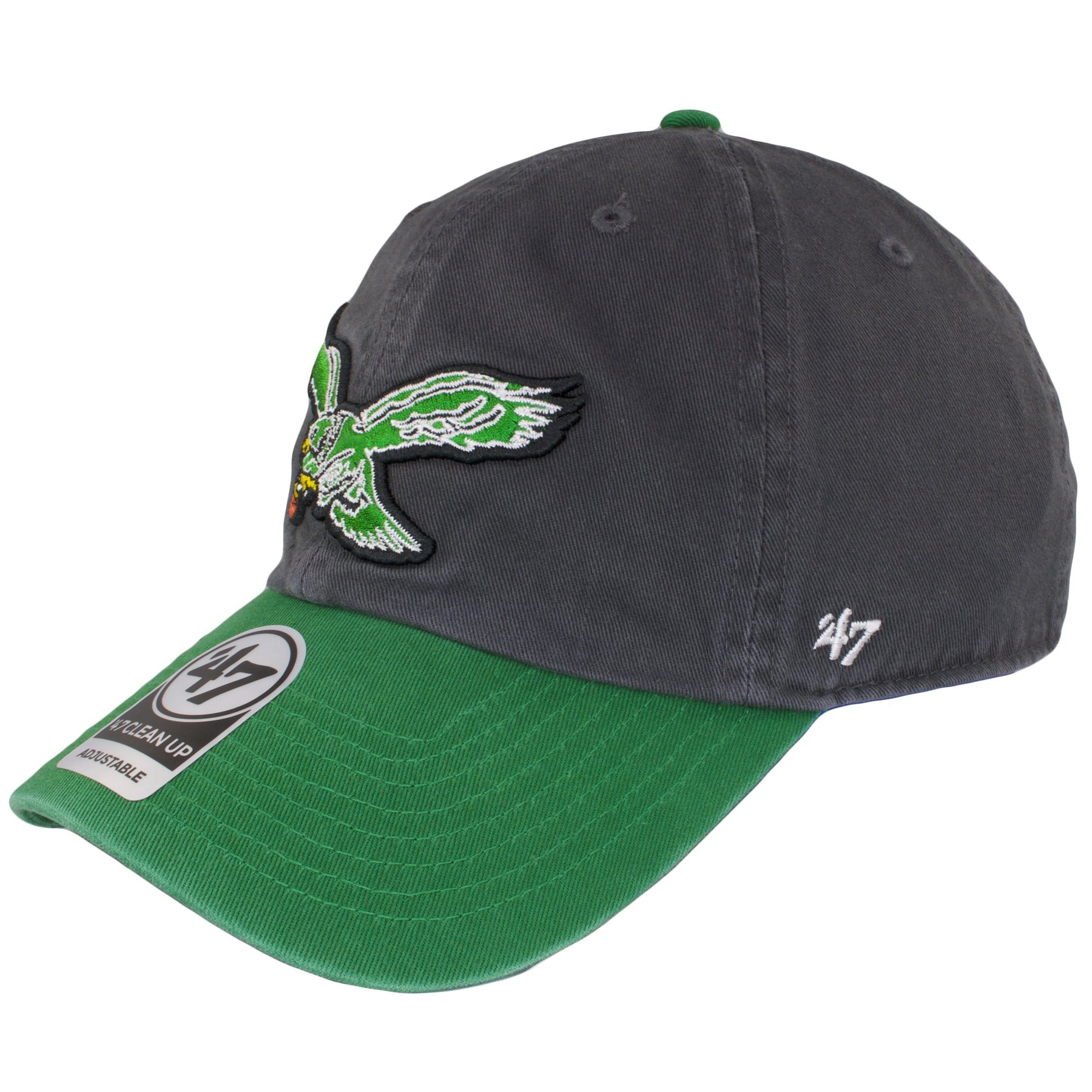 eeac1dddcd334 ... on the left side of the philadelphia eagles retro logo charcoal on kelly  green dad hat ...