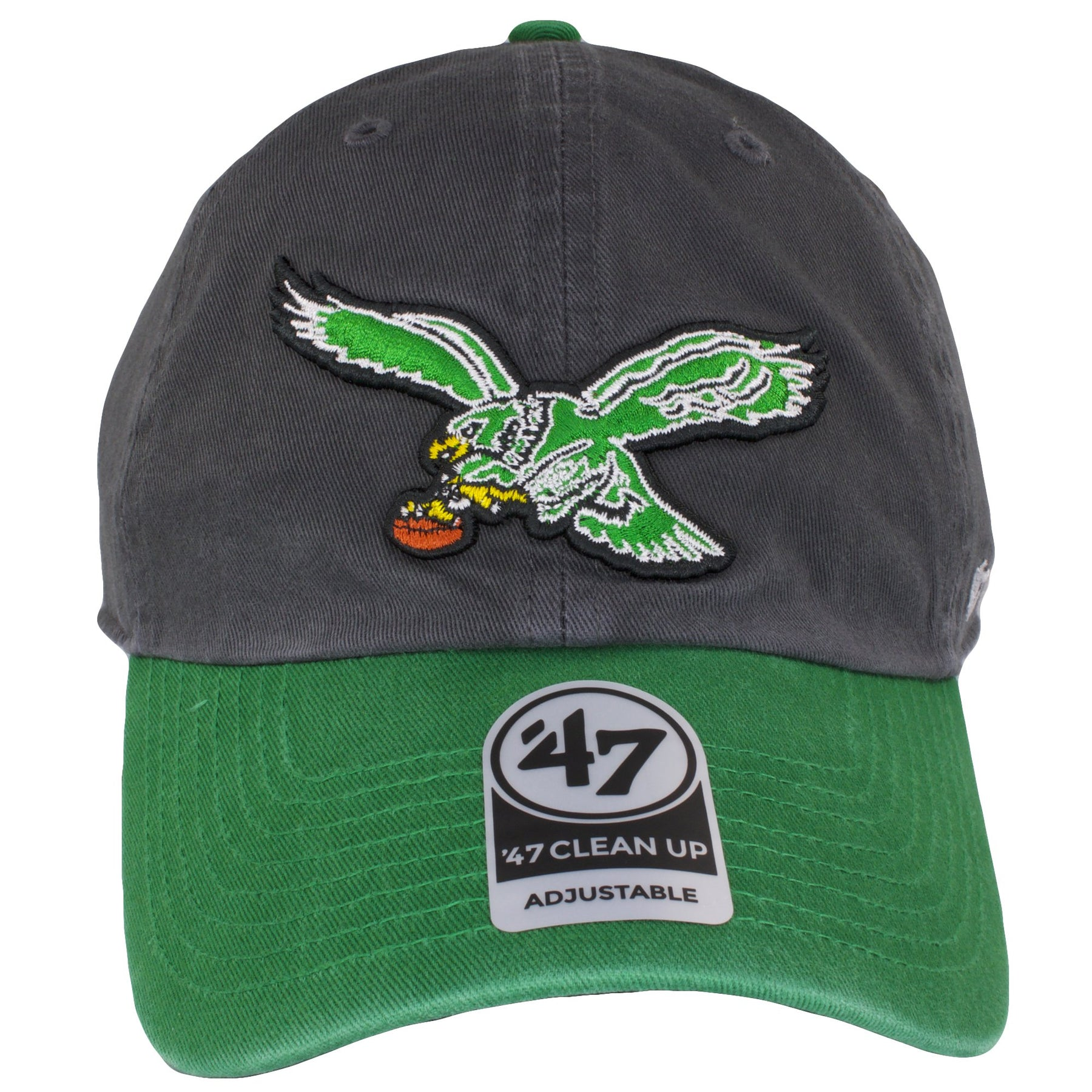on the front of the philadelphia eagles throwback charcoal on kelly green  dad hat is a 30d20b3b5