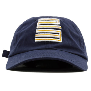 the jordan 4 dunk from above matching 23 ball cap dad hat has a navy blue dad hat and a jordan 23 logo embroidered on the front in white and gold