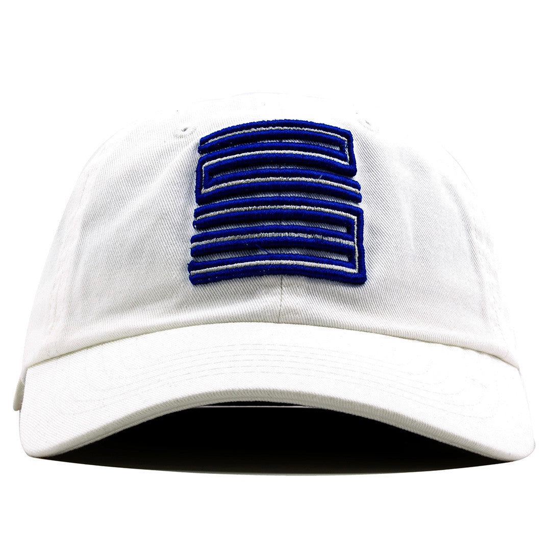 the white french blue jordan 12 matching 23 ball cap dad hat is solid white  and 49aa73f3341