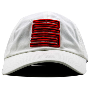 this white fire red jordan 5 matching 23 ball cap dad hat has a red and black jordan 23 logo embroidered on a white dad cap