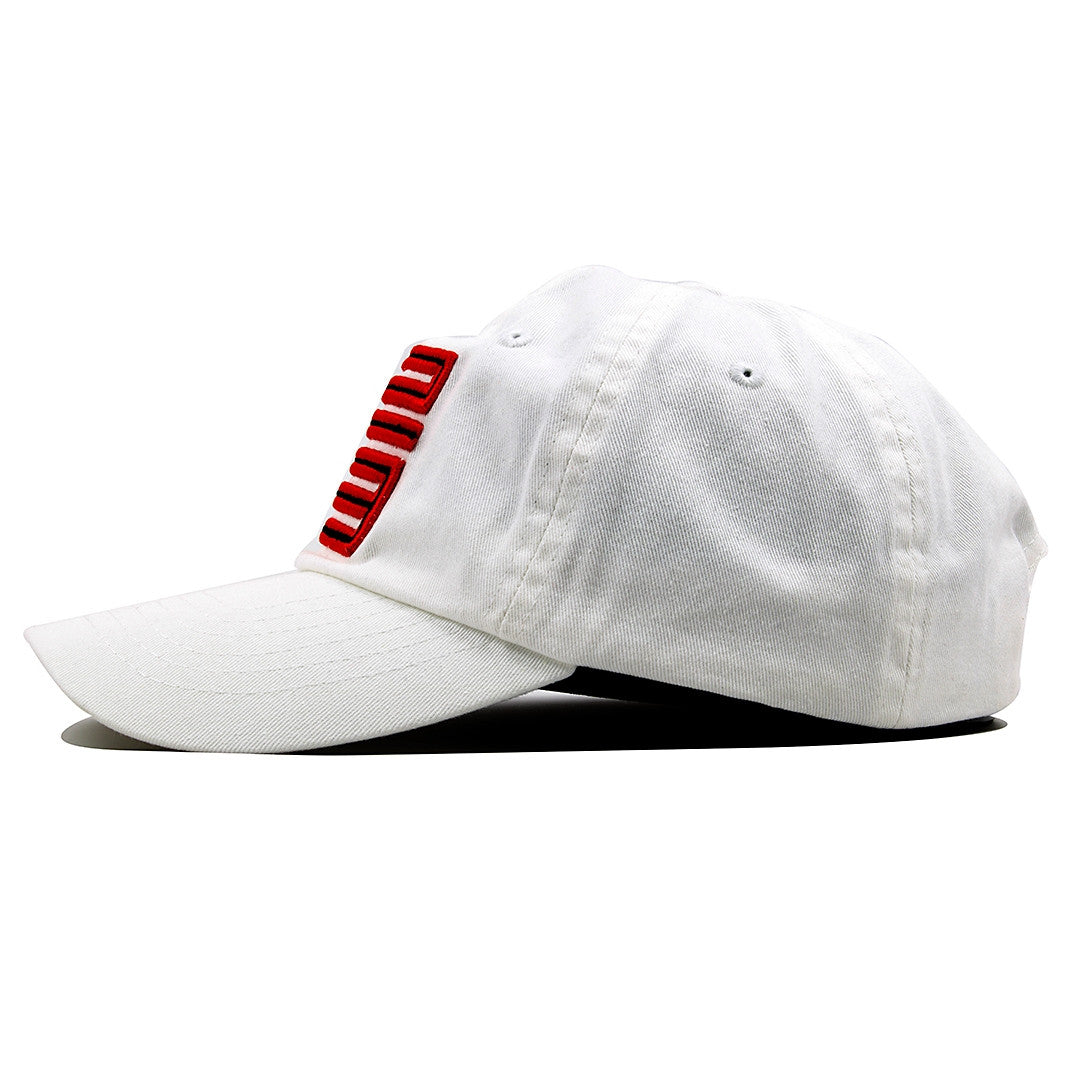 ... the fire red jordan 5 matching 23 ball cap dad hat is solid white with  a ... e14a9101f4f