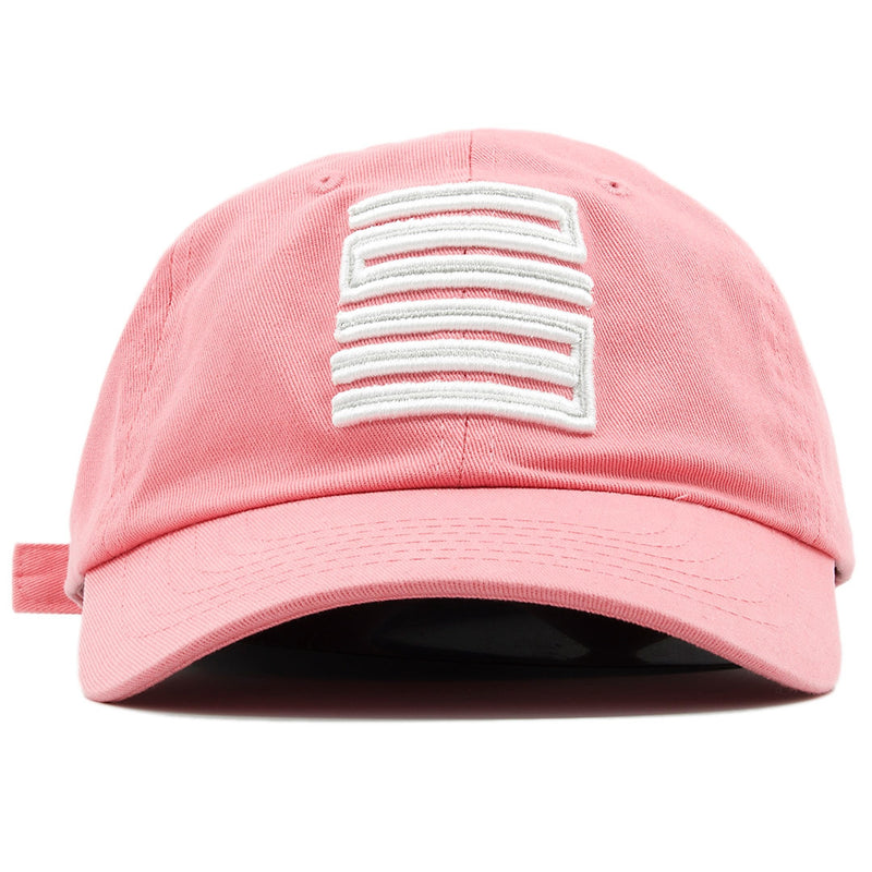 the air jordan 23 pink adjustable ball cap dad hat has a white jordan 23 logo embroidered on the front of a pink dad hat